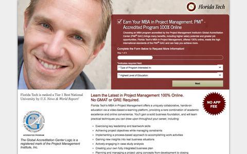 Screenshot of Landing Page floridatechonline.com - MBA Project Management Online | Project Management Certification | Florida Tech - captured April 15, 2016