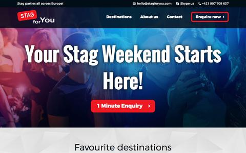 Screenshot of Home Page stagforyou.com - Legendary Stag Weekends in Best Destinations of 2018 - captured Sept. 21, 2018
