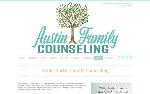 Screenshot of About Page Services Page austinfamilycounseling.com - About | Austin Family Counseling | Child, Couples, Individual, Family Counseling/Therapy Austin TX 78746 - captured May 31, 2017