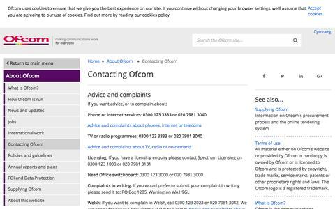 Screenshot of Contact Page ofcom.org.uk - Contacting Ofcom - Ofcom - captured March 1, 2017