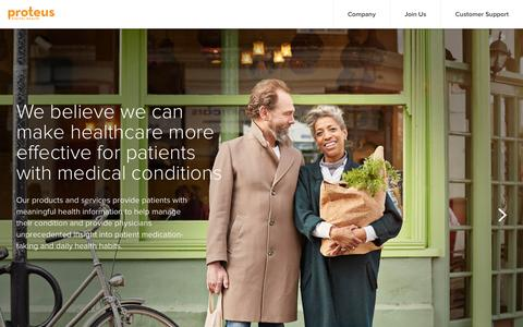 Screenshot of Home Page proteus.com - How it Works - Proteus Digital Health - captured Jan. 17, 2016