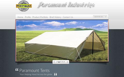 Screenshot of Home Page paramounttent.com - Wide range of family tent, tent for camping and general purpose tent. - captured Oct. 2, 2014