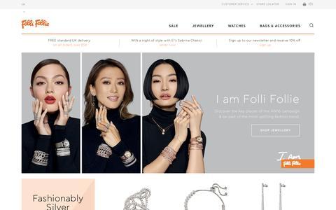 Screenshot of Home Page follifollie.co.uk - Folli Follie | Women's Jewellery | Women's Handbags | Women's Accesories - captured Sept. 5, 2016