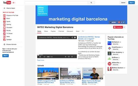 Screenshot of YouTube Page youtube.com - INITEC Marketing Digital Barcelona  - YouTube - captured Oct. 23, 2014