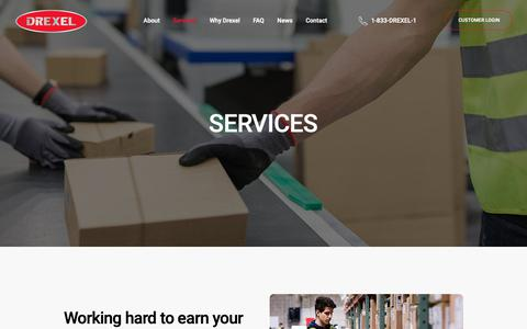 Screenshot of Services Page drexel.ca - Services | Drexel Industries - captured Oct. 9, 2018