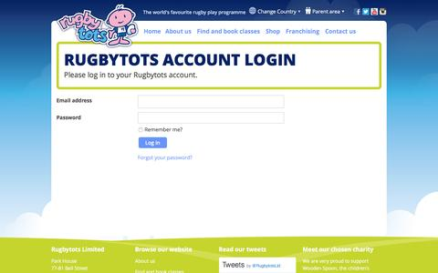 Screenshot of Login Page rugbytots.co.uk - Rugbytots Account Login - captured Jan. 24, 2017