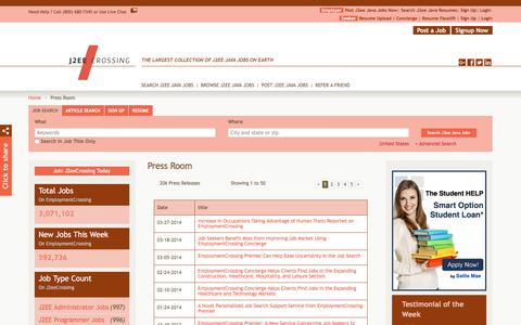 Screenshot of Press Page j2eecrossing.com - J2EECrossing.com News, Press Room, Press Releases | J2EECrossing.com - captured July 18, 2018