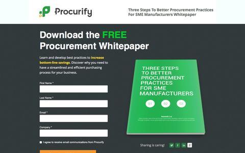 Screenshot of Landing Page procurify.com - Better Procurement Practices Whitepaper Download - captured May 10, 2016