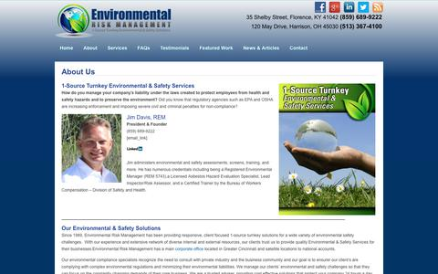Screenshot of About Page envrisk.com - About Us | Environmental Risk Management - captured Sept. 28, 2018