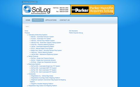 Screenshot of Site Map Page scilog.com - SciLog BioProcessing Systems - captured Feb. 3, 2016