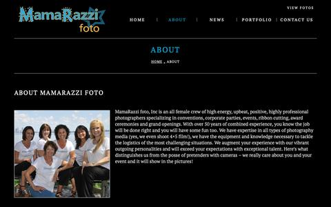 Screenshot of About Page mamarazzifoto.com - About  |  MamaRazzi Foto - captured Oct. 2, 2018