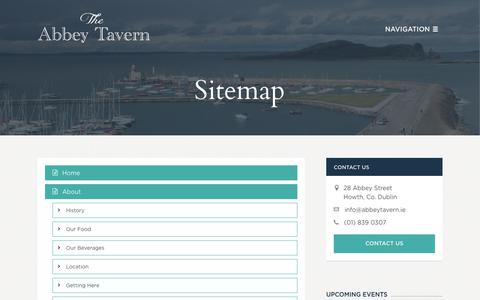 Screenshot of Site Map Page abbeytavern.ie - Sitemap | Traditional Irish Pub and Restaurant Howth | Abbey Tavern - captured Nov. 16, 2017