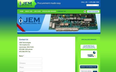 Screenshot of Contact Page jemtechnologies.com - Contact Us - JEM Technologies : JEM Technologies - captured Dec. 17, 2018