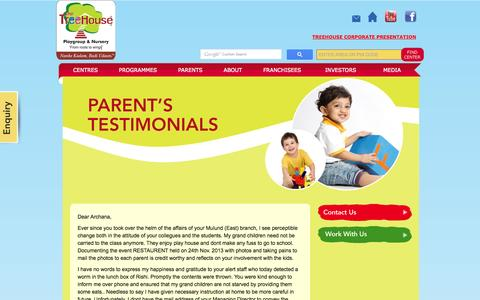 Screenshot of Testimonials Page treehouseplaygroup.net - TreeHouse - Testimonials - captured Oct. 7, 2014