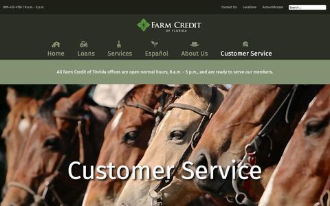 Screenshot of Support Page farmcreditfl.com - Farm Credit of Florida - Customer Service - captured Oct. 13, 2017
