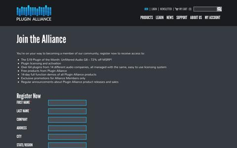 Screenshot of Signup Page plugin-alliance.com - Join - Plugin Alliance - captured Feb. 11, 2016