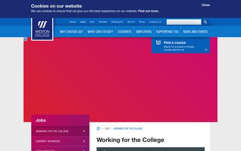 Screenshot of Jobs Page weston.ac.uk - Working for the College | Weston College - captured Oct. 5, 2014