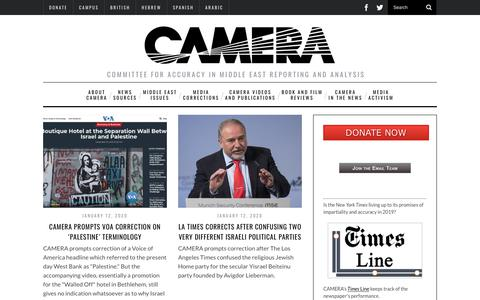 Screenshot of Home Page camera.org - CAMERA - captured Jan. 13, 2020