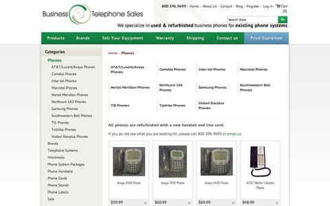 Screenshot of Products Page businesstelephone.com - Business Phones - Used and Refurbished - Business Telephone Sales. Business Telephone Sales - Used & Refurbished Small Telephone Systems - captured Sept. 19, 2014