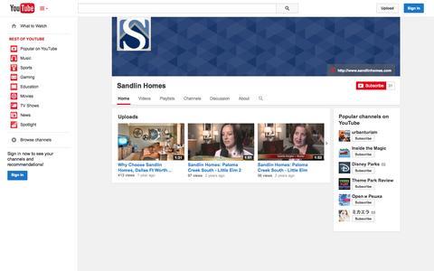 Screenshot of YouTube Page youtube.com - Sandlin Homes  - YouTube - captured Oct. 23, 2014