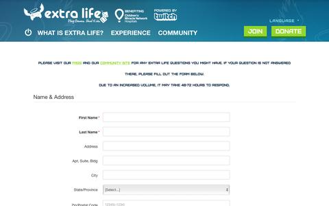 Screenshot of Contact Page extra-life.org - Play Games. Heal Kids. | Extra Life - captured Dec. 4, 2016