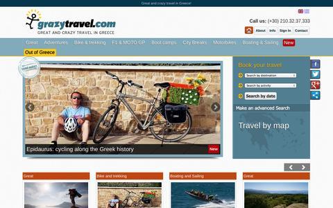 Screenshot of Home Page Menu Page grazytravel.com - Greece | Greek adventures | Grazy travel - captured Sept. 30, 2014