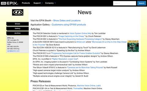 Screenshot of Press Page epixinc.com - EPIX® Vision - captured May 13, 2017