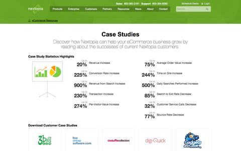Screenshot of Case Studies Page nextopia.com - Case Studies | eCommerce Resources by Nextopia. The #1 global provider of eCommerce site search & navigation solutions. - captured Nov. 5, 2014