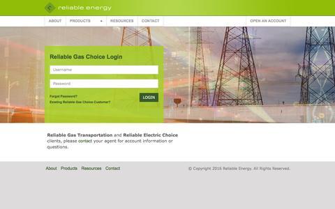 Screenshot of Login Page reliableenergy.com - - Choice Management - captured Aug. 13, 2016