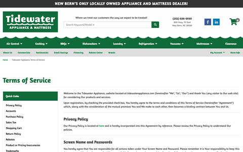Screenshot of Terms Page tidewaterappliance.com - Terms of Service | Tidewater Appliance - captured Oct. 19, 2018