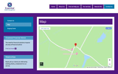 Screenshot of Maps & Directions Page essential-wealth.co.uk - Map - Essential Wealth - captured Sept. 28, 2018