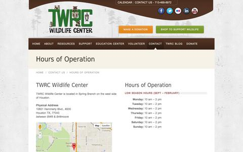 Screenshot of Hours Page twrcwildlifecenter.org - Hours of Operation - captured Oct. 7, 2014