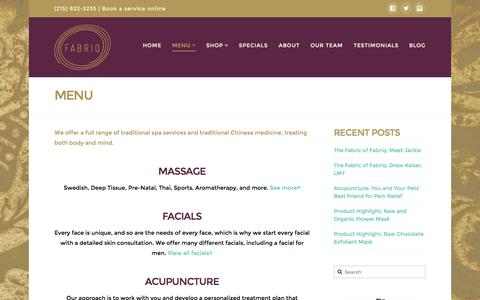 Screenshot of Menu Page fabriqspa.com - Philadelphia Spa Services | Fabriq - captured Sept. 30, 2014