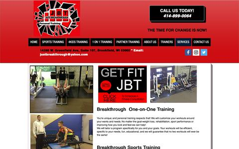 Screenshot of Services Page justbreakthrough.com - Services and Classes | Just Breakthrough Personal Fitness | Brookfield - captured Oct. 14, 2018