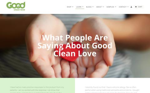 Screenshot of Testimonials Page goodcleanlove.com - Testimonials - Good Clean Love - captured July 21, 2018