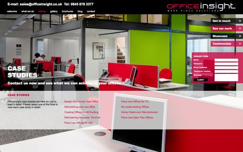 Screenshot of Case Studies Page officeinsight.co.uk - Officeinsight | Case studies - captured Oct. 27, 2014