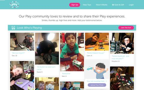 Screenshot of Testimonials Page pley.com - Pley reviews |  Pley | Rent the coolest toys including LEGO®, American Girl and other amazing toys - captured Feb. 23, 2016