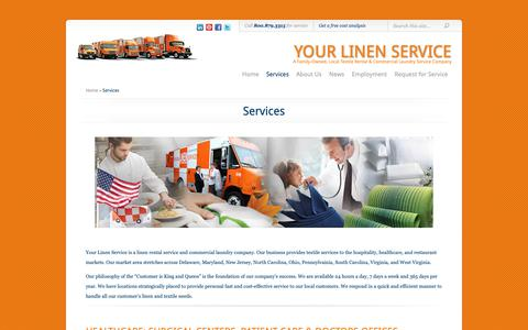 Screenshot of Services Page yourlinenservice.com - Services   Your Linen Service - captured Oct. 19, 2018