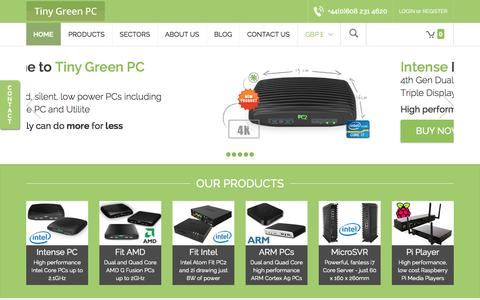 Screenshot of Home Page tinygreenpc.com - Tiny Green PC - captured Sept. 22, 2014