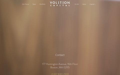 Screenshot of Contact Page volitioncapital.com - Contact Ń Volition Capital - captured Jan. 12, 2016