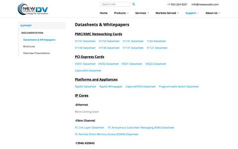 Screenshot of Support Page newwavedv.com - Datasheets & Whitepapers - New Wave DV - captured March 4, 2018