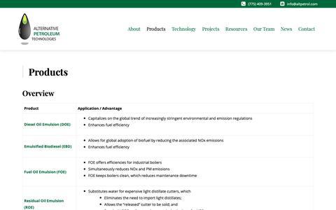 Screenshot of Products Page altpetrol.com - Products - Alt Petroleum - captured Dec. 18, 2018