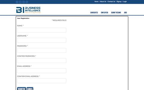 Screenshot of Signup Page birecruitinggroup.com - | Signup - captured Oct. 5, 2014