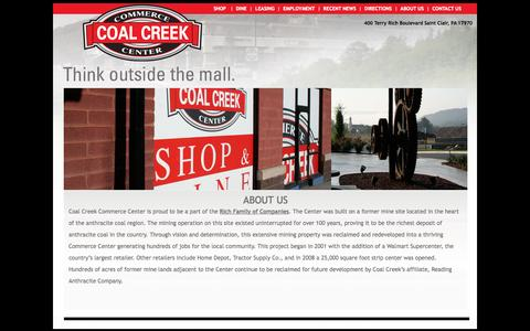 Screenshot of About Page coalcreekcc.com - Schuylkill County's Premiere Place to Shop 17970 Pottsville PA, Bloomsburg, PA Haxelton PA Berwick, PA - captured Oct. 3, 2014