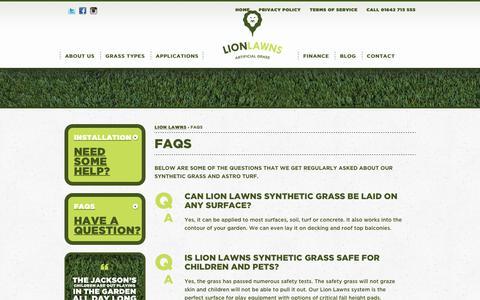 Screenshot of FAQ Page lionlawns.co.uk - FAQs - Lion Lawns - captured July 5, 2017