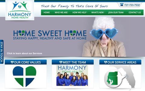 Screenshot of Home Page harmonyhh.com - Senior Home Health Care | Florida Home Health - captured Oct. 2, 2014