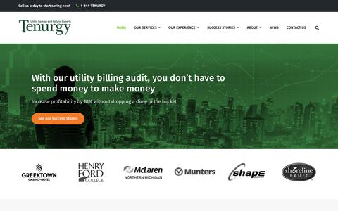 Screenshot of Home Page tenurgy.com - Tenurgy - Utility Management Savings and Refund Experts - captured Nov. 7, 2018