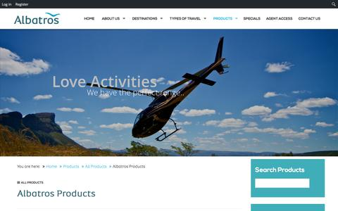 Screenshot of Products Page albatros-africa.com - Albatros Travel Products - captured Jan. 18, 2016