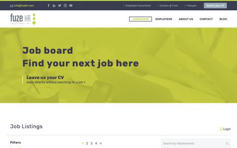 Screenshot of Support Page fuzehr.com - Job board | Fuze HR Solutions - Staffing and Recruitment Agency - captured Oct. 11, 2018