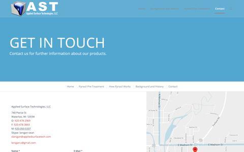 Screenshot of Contact Page appliedsurfacetech.com - Contact – Applied Surface Technology - captured Dec. 18, 2018